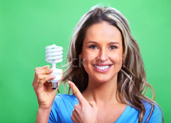 Vrouw tl lamp groene gezicht licht Stockfoto © Kurhan