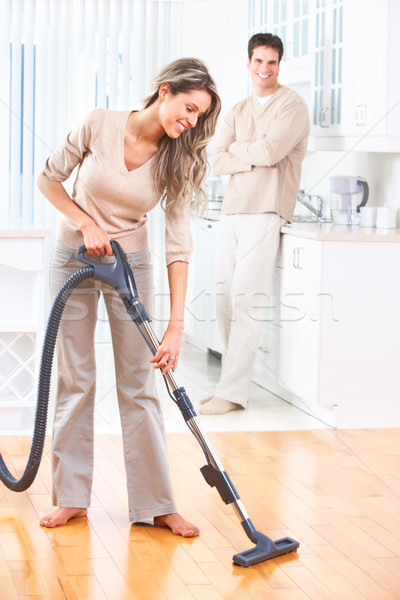 Huishoudelijk werk huis werk stofzuiger home Stockfoto © Kurhan