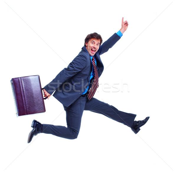 Stock fotó: üzletember · mosolyog · izolált · fehér · férfi · boldog