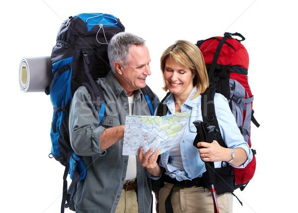 Stock foto: Touristischen · Wandern · isoliert · weiß · Mann