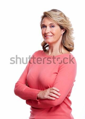 Foto stock: Feliz · senior · mulher · isolado · branco · sorrir
