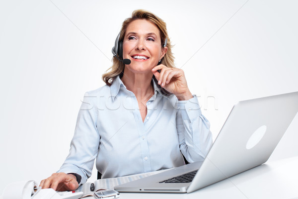 Obsługa klienta przedstawiciel kobieta pracy biuro szczęśliwy Zdjęcia stock © Kurhan