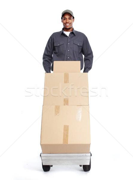 Zdjęcia stock: Listonosz · odizolowany · biały · pracy · ciężarówka · biznesmen