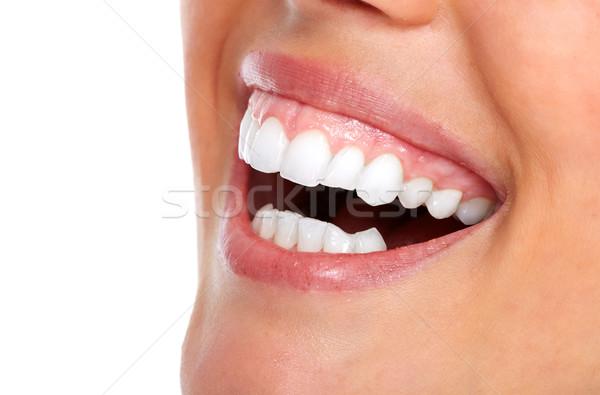 Stock fotó: Gyönyörű · nő · mosoly · fehér · fogak · fogászati · egészségügy · lány