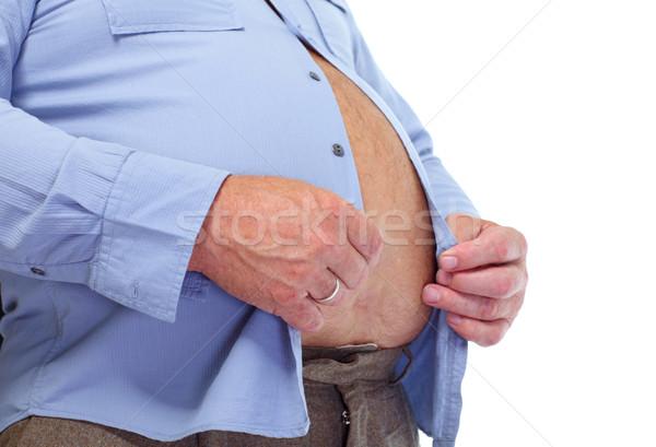 Duży tłuszczu brzuch starszy człowiek żołądka Zdjęcia stock © Kurhan