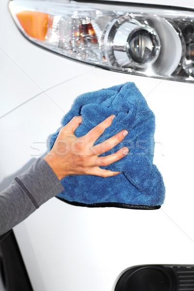 Stock fotó: Autó · mosás · kéz · ruha · gyantázás · fehér
