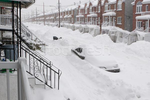 Hóesés város autó utca hó égbolt Stock fotó © Kurhan