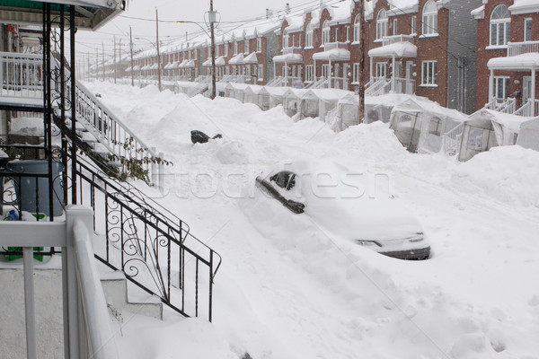 Sneeuwval stad auto straat sneeuw hemel Stockfoto © Kurhan