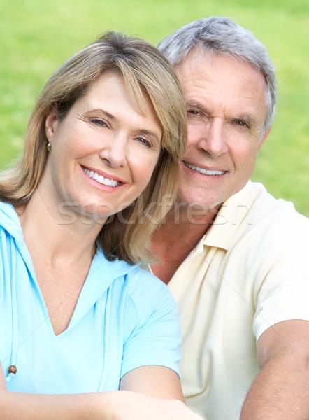 пожилого пару улыбаясь счастливым лет парка Сток-фото © Kurhan