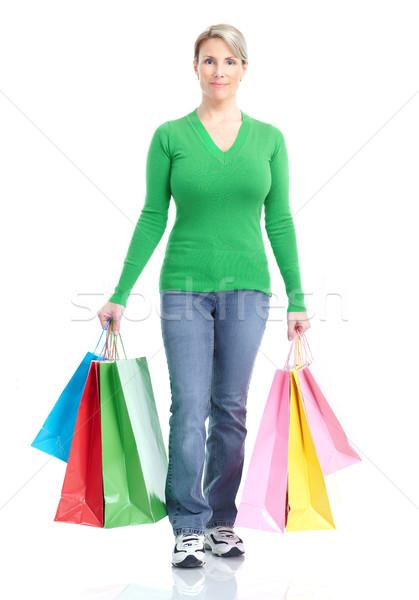 Winkelen vrouw gelukkig geïsoleerd witte gezicht Stockfoto © Kurhan