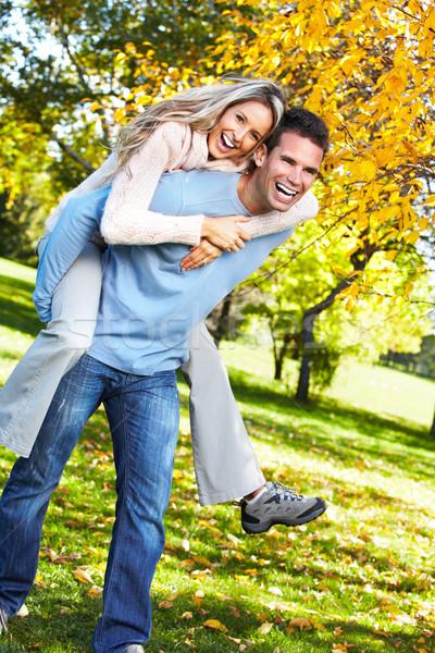 Stock fotó: Boldog · pár · fiatal · pér · szeretet · park · család