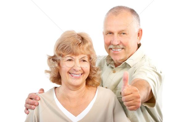 Stockfoto: Ouderen · paar · gelukkig · liefde · geïsoleerd · witte