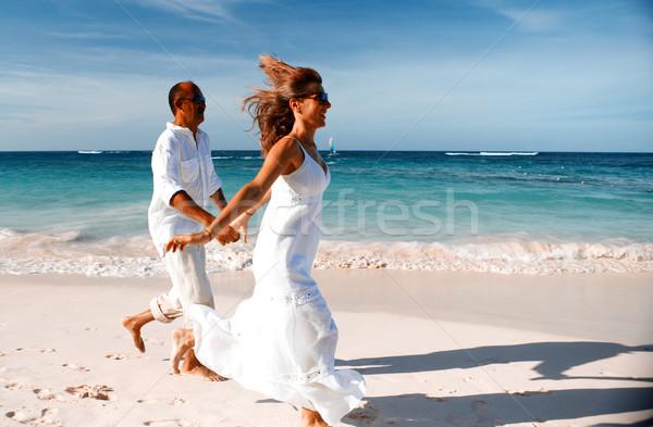 ストックフォト: カップル · を実行して · ビーチ · 幸せ · カリビアン · 休暇