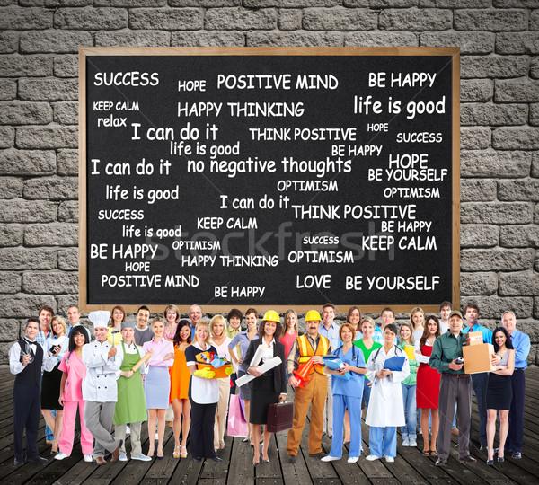 Foto stock: Trabalhadores · pessoas · grupo · positivo · pensando · negócio