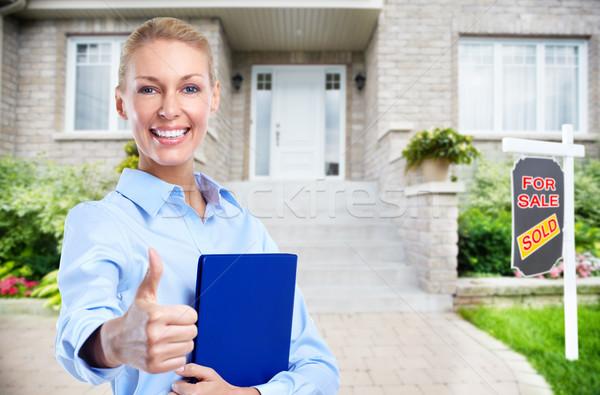 Ingatlanügynök nő új ház otthon vásár üzlet Stock fotó © Kurhan