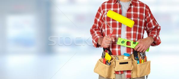 Stock fotó: építész · ezermester · festék · építkezés · szerszámok · kék