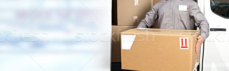 Stanie listonosz ręce polu zawodowych pakiet Zdjęcia stock © Kurhan