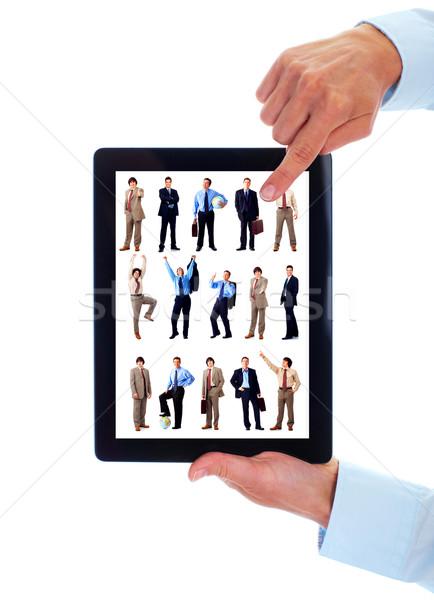 Stock fotó: Táblagép · csoport · üzletemberek · kezek · csapat · izolált