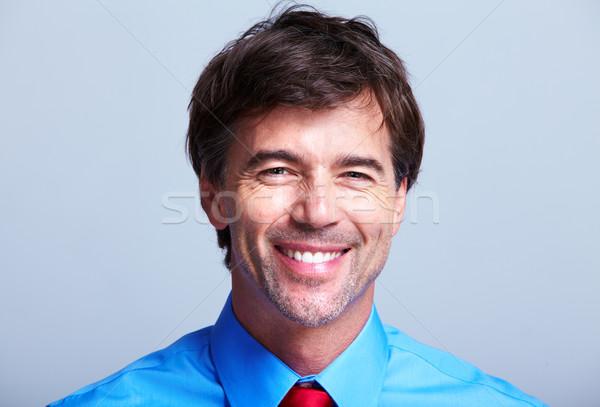 Stock foto: Executive · Geschäftsmann · grau · Gesicht · Mann · Hintergrund