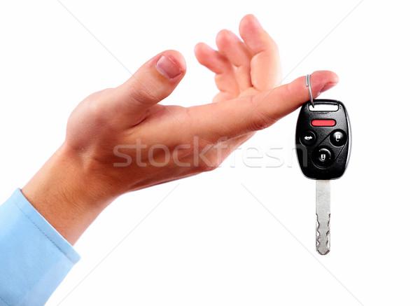 手 車のキー 孤立した 白 女性 男 ストックフォト © Kurhan
