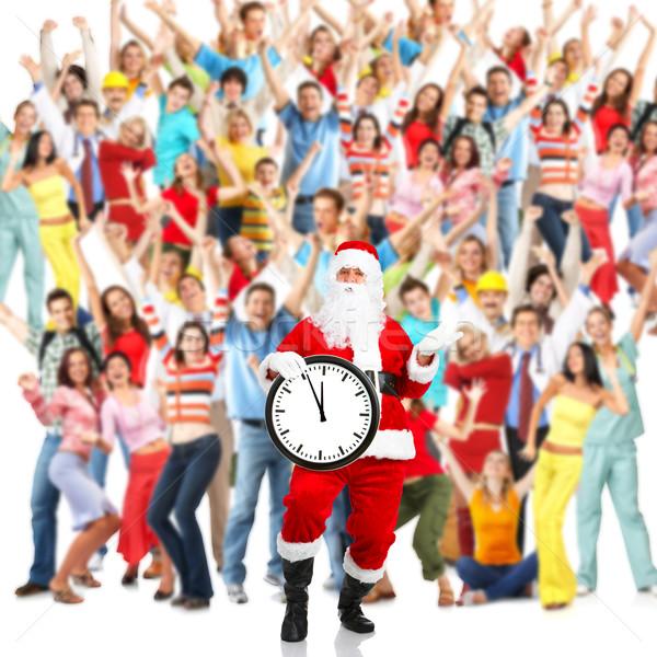 Natal grupo pessoas felizes papai noel festa Foto stock © Kurhan