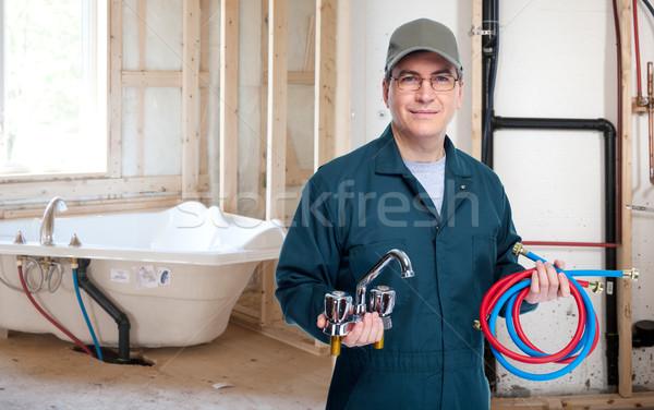 Fontanero grifo profesional construcción trabajo de trabajo Foto stock © Kurhan