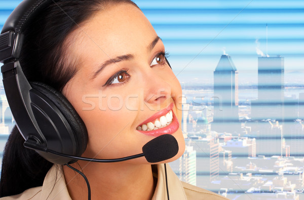 Call Center Betreiber business woman Headset Frau Stadt Stock foto © Kurhan