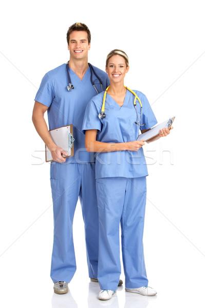 笑みを浮かべて 医療 人 孤立した 白 作業 ストックフォト © Kurhan