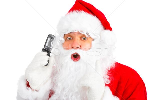 Christmas Święty mikołaj komórkowej biały strony człowiek Zdjęcia stock © Kurhan