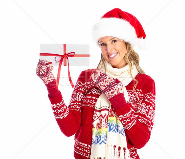счастливым женщину Рождества настоящее изолированный белый Сток-фото © Kurhan