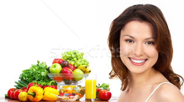 Woman, juice, vegetables and fruits Stock photo © Kurhan