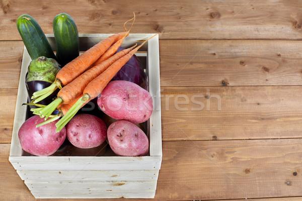 Stock fotó: Zöldségek · doboz · organikus · tok · fa · asztal · élelmiszer