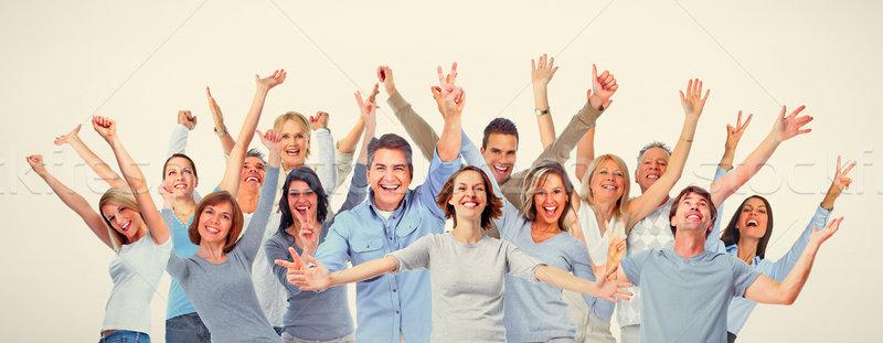 Boldog emberek nagyobb csoport mosolyog nevet férfiak nők Stock fotó © Kurhan
