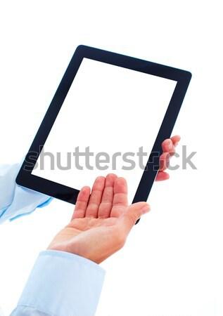 ストックフォト: 手 · 孤立した · 白 · ビジネス · インターネット