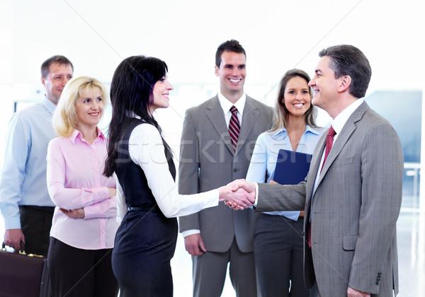 Foto stock: Reunião · de · negócios · pessoas · de · negócios · grupo · reunião · isolado · branco