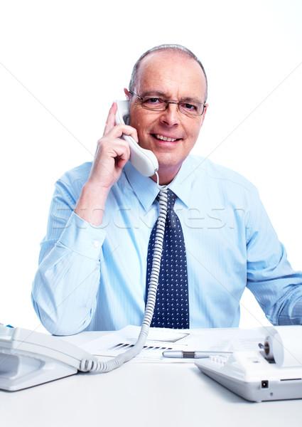 Foto stock: Executivo · empresário · chamada · telefone · isolado · branco