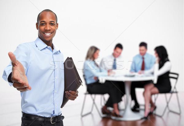 Foto stock: Empresario · apretón · de · manos · personas · grupo · oficina · reunión