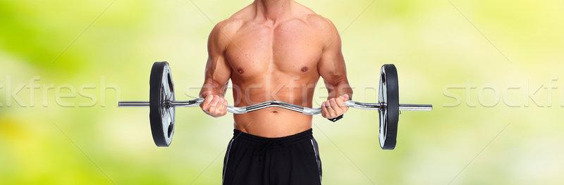 強い 男 バーベル 手 健康 トレーニング ストックフォト © Kurhan