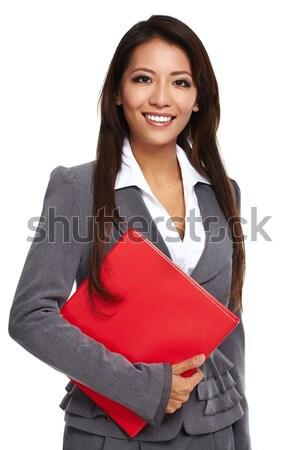 Stockfoto: Mooie · asian · zakenvrouw · geïsoleerd · witte · vrouw