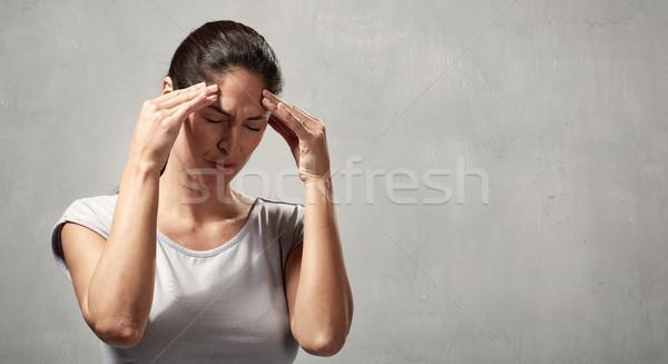 Mulher dor de cabeça mulher jovem depressão saúde mental mão Foto stock © Kurhan