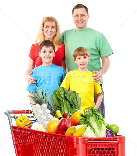 Boldog család bevásárlókocsi izolált fehér nő család Stock fotó © Kurhan