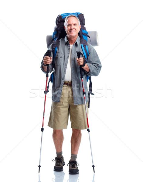 Turista senior homem caminhadas isolado branco Foto stock © Kurhan