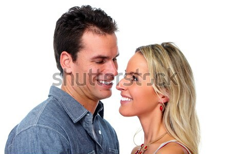 Foto stock: Jovem · feliz · casal · amor · isolado · branco