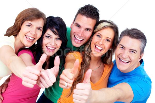 Csoport boldog emberek izolált fehér nő család Stock fotó © Kurhan