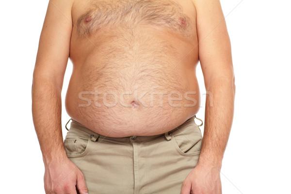 Grubas duży brzuch diety człowiek tle Zdjęcia stock © Kurhan