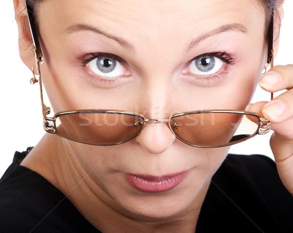 şaşırmış iş kadını genç gözlük yalıtılmış Stok fotoğraf © Kurhan