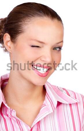 Business woman mrugnięcie młodych uśmiechnięty udany Zdjęcia stock © Kurhan