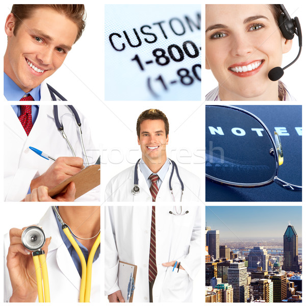 Orvos mosolyog orvosi sztetoszkóp boldog egészség Stock fotó © Kurhan