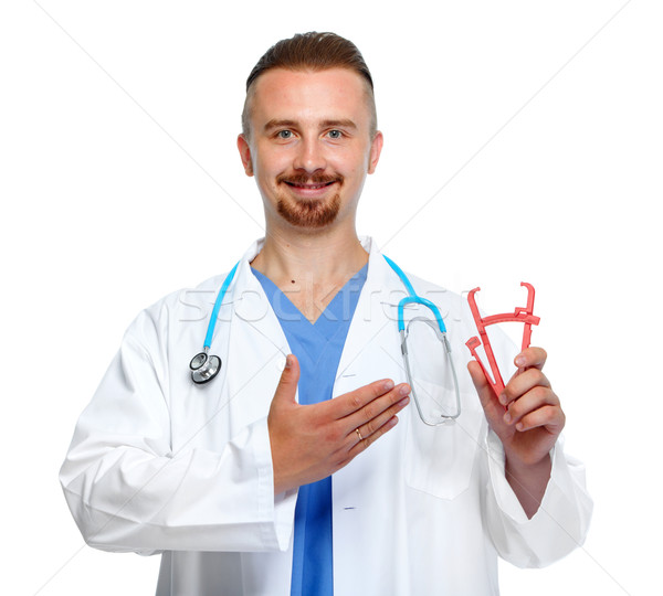 Doctor with body fat calipers. Stock photo © Kurhan