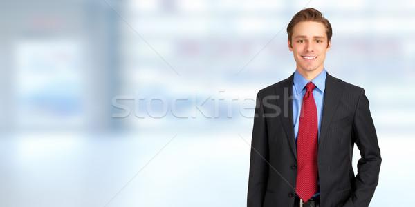 Empresario jóvenes guapo caucásico hombre de negocios azul Foto stock © Kurhan